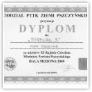 (9/9): Dyplom za udział w XI Rajdzie Rajdzie Górskim Młodzieży Powiatu Pszczyńskiego<br>3 października 2009r.\