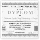 (13/14): Dyplom za udział w XII Rajdzie Górskim Młodzieży Powiatu Pszczyńskiego - DIABLAK III<br>2 październik 2010r.