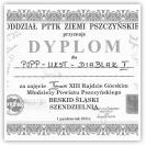 (1/9): Dyplom za zajęcie pierwszego miejsca w quizie wiedzy o Beskidzie ¦l±skim - XIII Rajd Górski Młodzieży Powiatu Pszczyńskiego - 1 paĽdziernika 2011r.